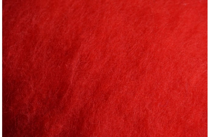 Red color carded wool