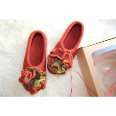 Rust colors slippers with flowers