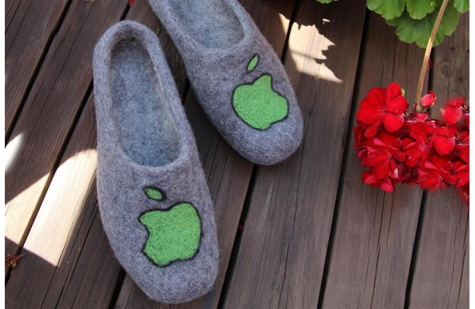 Grey color slippers with Apple